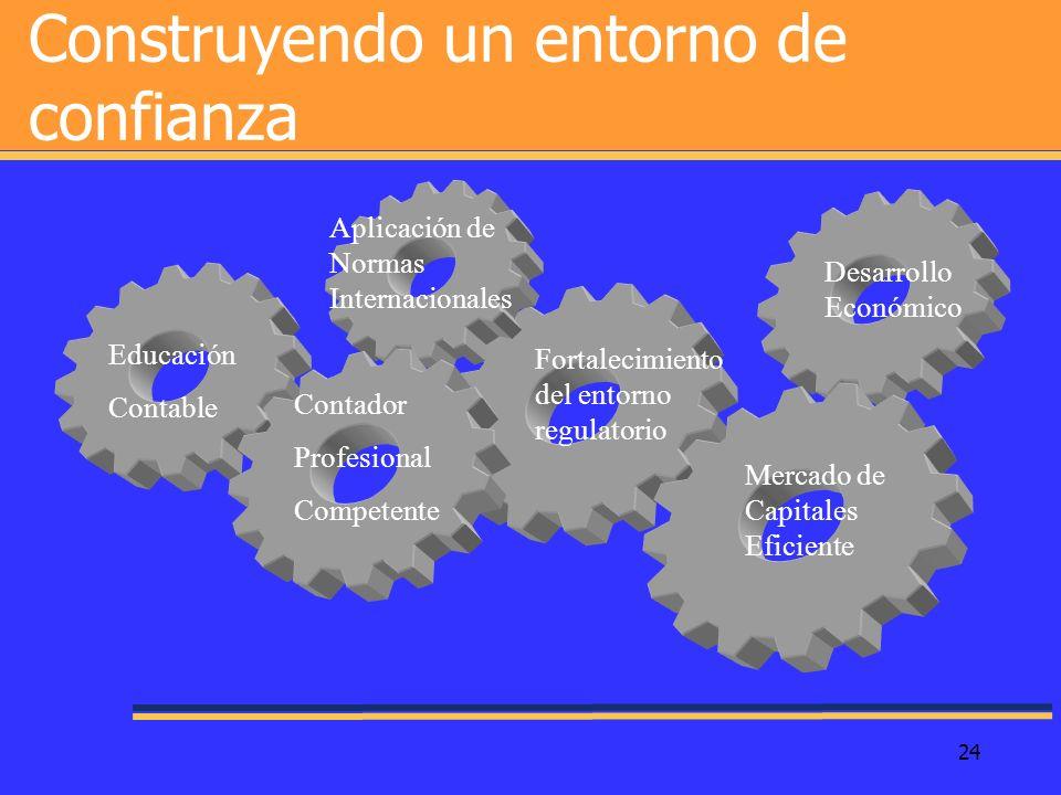 24 Construyendo un entorno de confianza Educación Contable Contador Profesional Competente Aplicación de Normas Internacionales Fortalecimiento del en