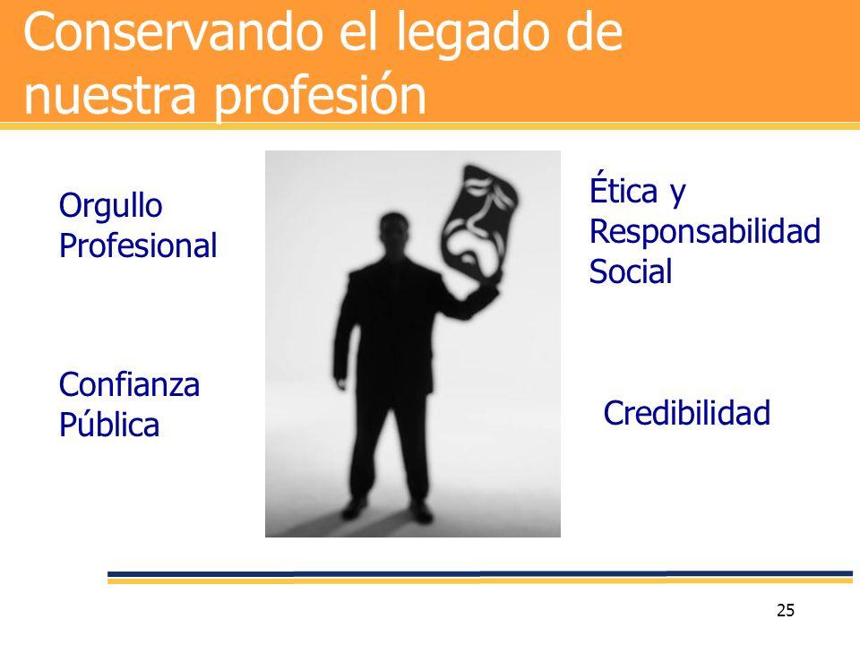 25 Conservando el legado de nuestra profesión Credibilidad Confianza Pública Orgullo Profesional Ética y Responsabilidad Social