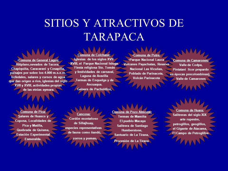 SITIOS Y ATRACTIVOS DE TARAPACA Comuna de General Lagos: Altiplano,nevados de Tacora, Chapiquiña, Caracarani y Cosapilla, paisajes por sobre los 4.000