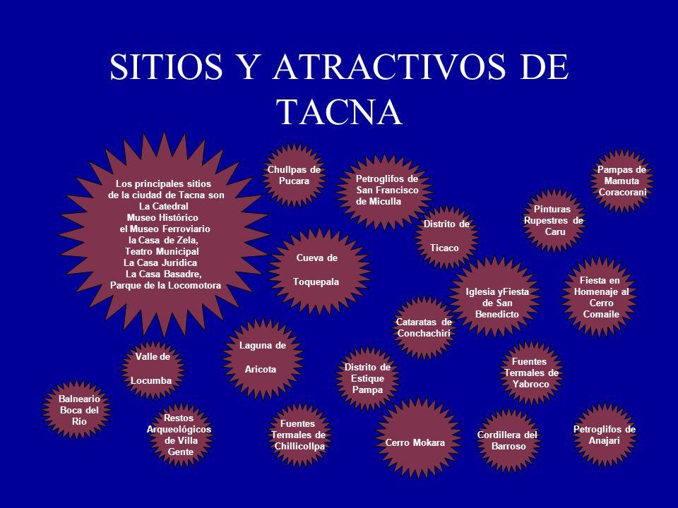 SITIOS Y ATRACTIVOS DE TACNA Los principales sitios de la ciudad de Tacna son La Catedral Museo Histórico el Museo Ferroviario la Casa de Zela, Teatro