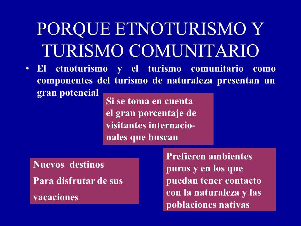 PORQUE ETNOTURISMO Y TURISMO COMUNITARIO El etnoturismo y el turismo comunitario como componentes del turismo de naturaleza presentan un gran potencia
