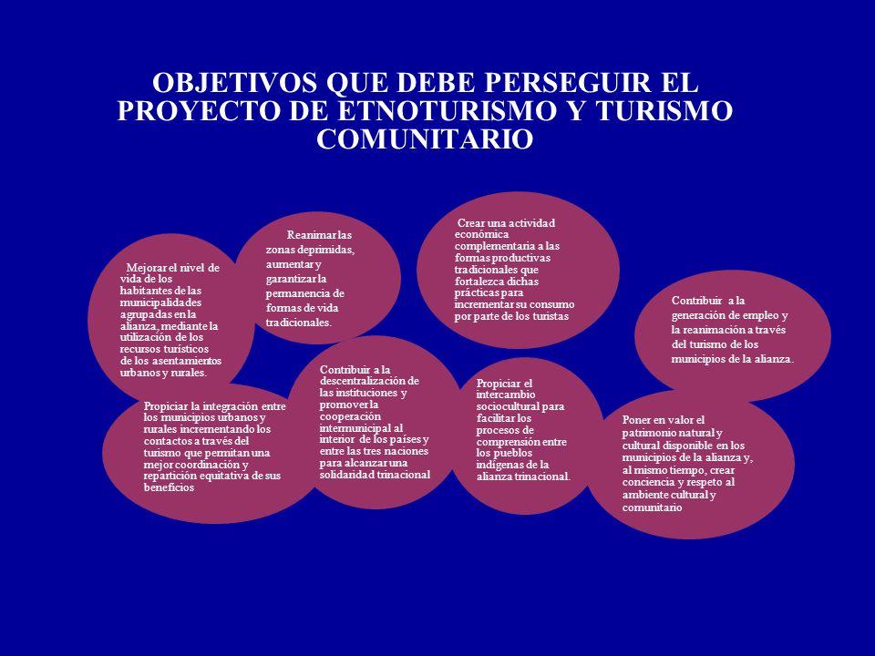 OBJETIVOS QUE DEBE PERSEGUIR EL PROYECTO DE ETNOTURISMO Y TURISMO COMUNITARIO Mejorar el nivel de vida de los habitantes de las municipalidades agrupa