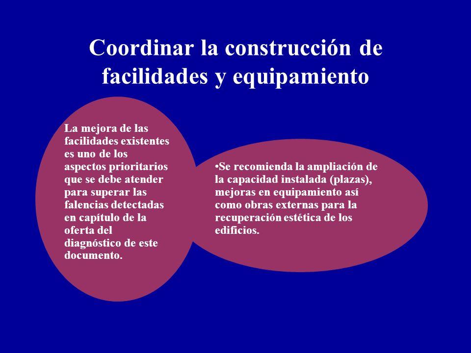 Coordinar la construcción de facilidades y equipamiento La mejora de las facilidades existentes es uno de los aspectos prioritarios que se debe atende