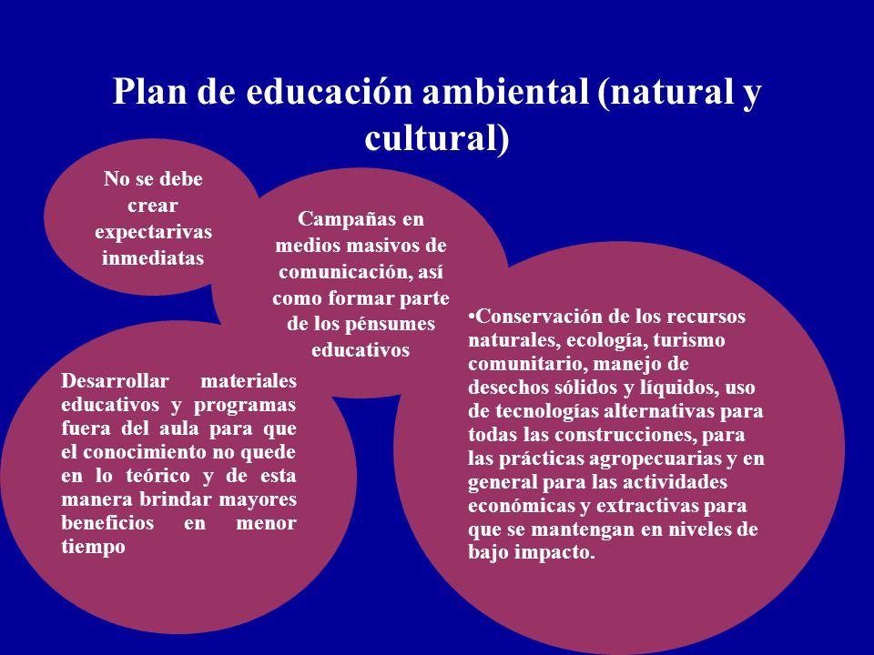 Plan de educación ambiental (natural y cultural) No se debe crear expectarivas inmediatas Campañas en medios masivos de comunicación, así como formar