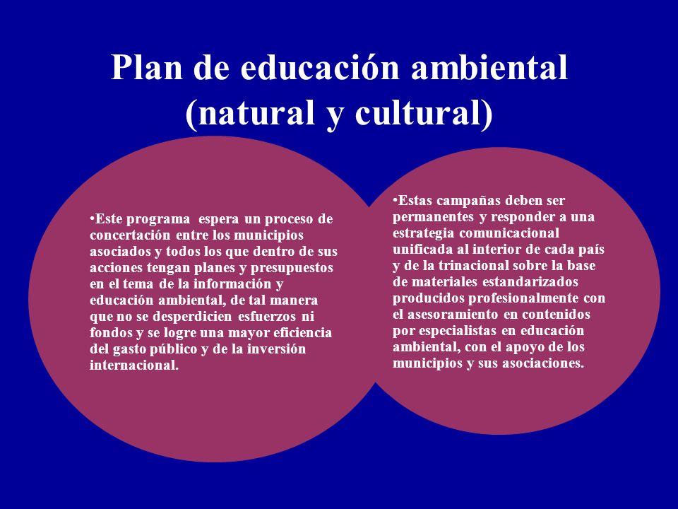 Plan de educación ambiental (natural y cultural) Este programa espera un proceso de concertación entre los municipios asociados y todos los que dentro