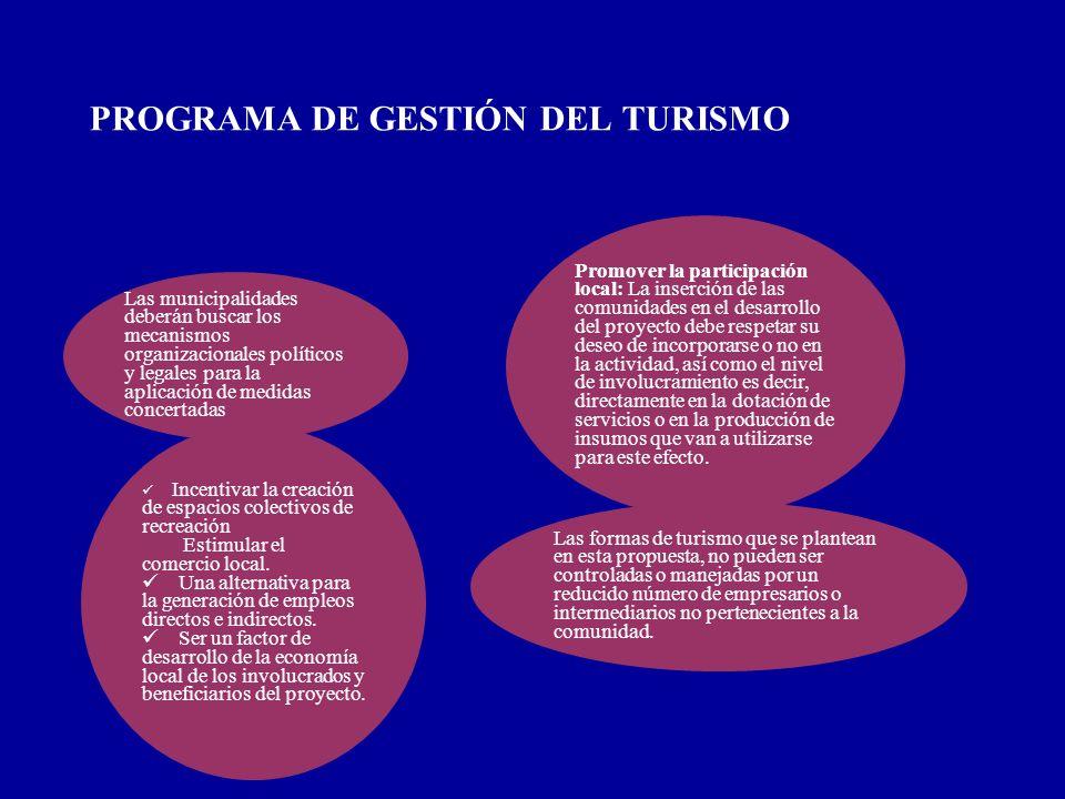 PROGRAMA DE GESTIÓN DEL TURISMO Las municipalidades deberán buscar los mecanismos organizacionales políticos y legales para la aplicación de medidas c