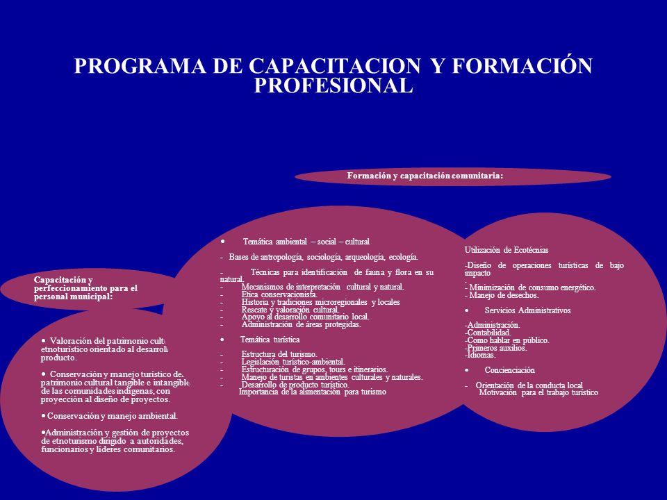 PROGRAMA DE CAPACITACION Y FORMACIÓN PROFESIONAL Capacitación y perfeccionamiento para el personal municipal: Valoración del patrimonio cultural y etn