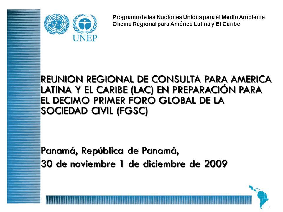 1 Programa de las Naciones Unidas para el Medio Ambiente Oficina Regional para América Latina y El Caribe REUNION REGIONAL DE CONSULTA PARA AMERICA LA