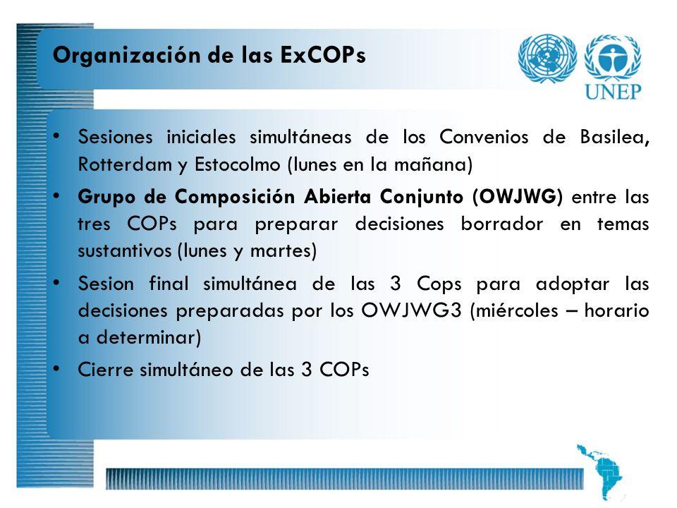11 Organización de las ExCOPs Sesiones iniciales simultáneas de los Convenios de Basilea, Rotterdam y Estocolmo (lunes en la mañana) Grupo de Composic
