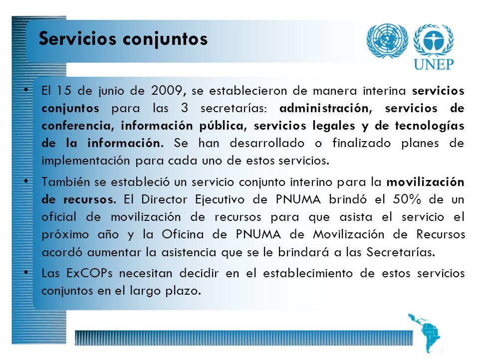 13 Servicios conjuntos El 15 de junio de 2009, se establecieron de manera interina servicios conjuntos para las 3 secretarías: administración, servici