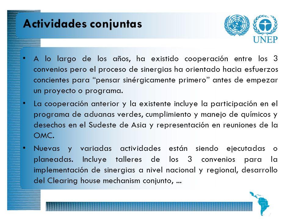 14 Actividades conjuntas A lo largo de los años, ha existido cooperación entre los 3 convenios pero el proceso de sinergias ha orientado hacia esfuerz