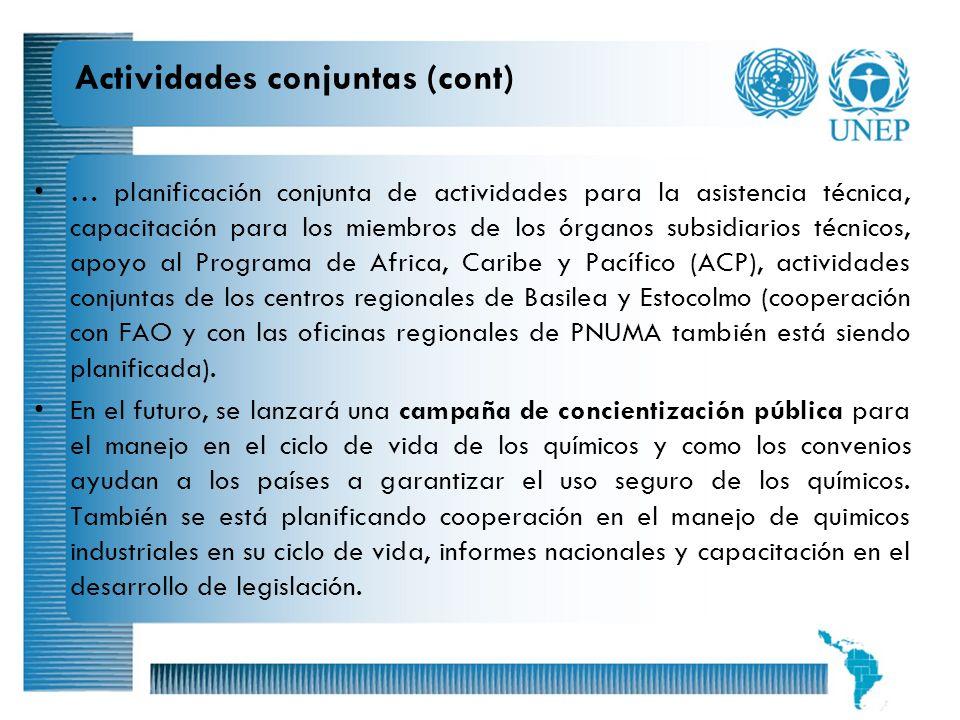 15 … planificación conjunta de actividades para la asistencia técnica, capacitación para los miembros de los órganos subsidiarios técnicos, apoyo al P