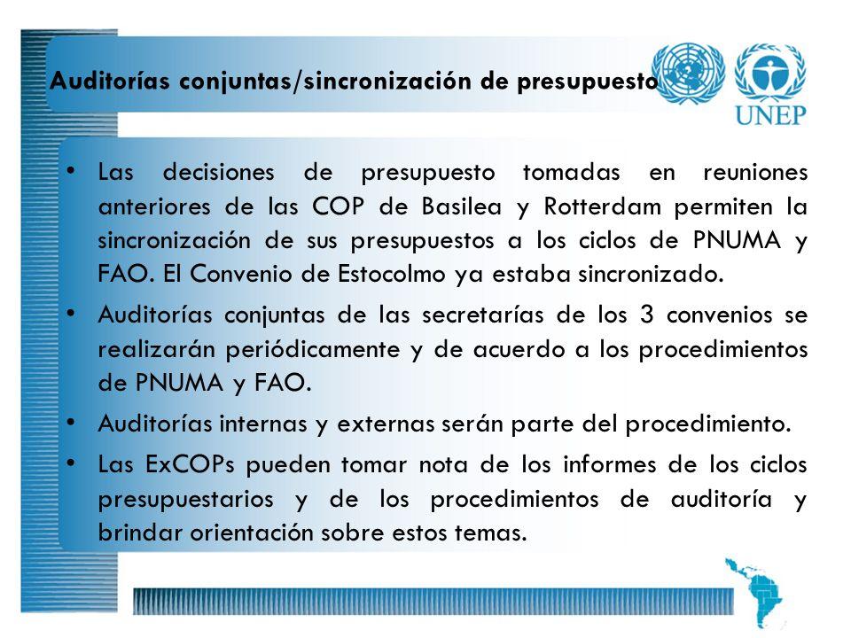 18 Auditorías conjuntas/sincronización de presupuesto Las decisiones de presupuesto tomadas en reuniones anteriores de las COP de Basilea y Rotterdam