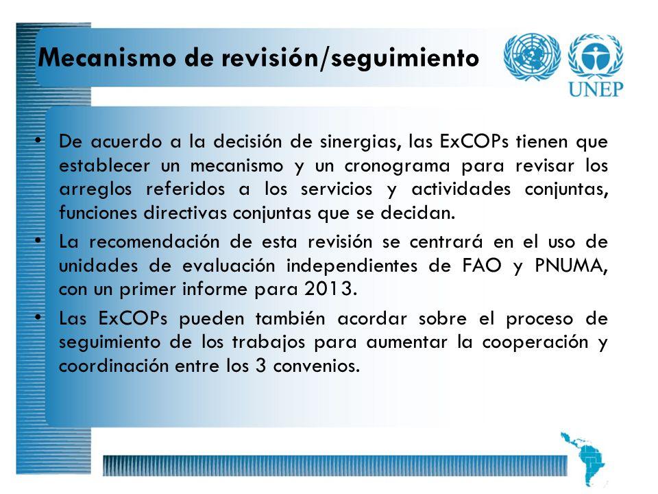 19 Mecanismo de revisión/seguimiento De acuerdo a la decisión de sinergias, las ExCOPs tienen que establecer un mecanismo y un cronograma para revisar