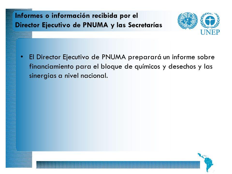 20 Informes o información recibida por el Director Ejecutivo de PNUMA y las Secretarías El Director Ejecutivo de PNUMA preparará un informe sobre fina