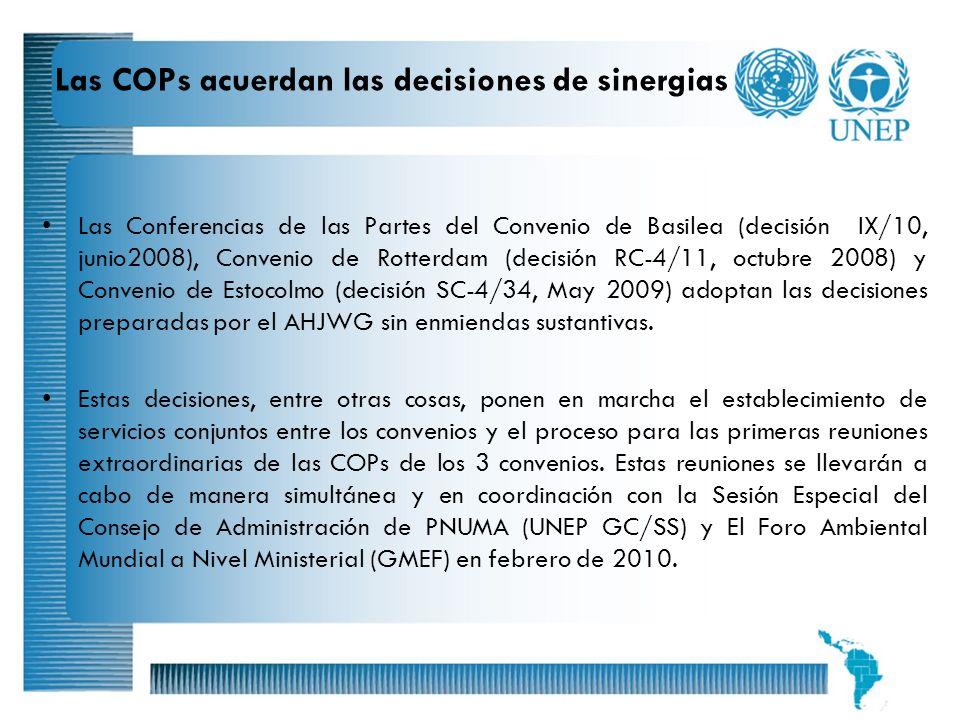 7 Las COPs acuerdan las decisiones de sinergias Las Conferencias de las Partes del Convenio de Basilea (decisión IX/10, junio2008), Convenio de Rotter