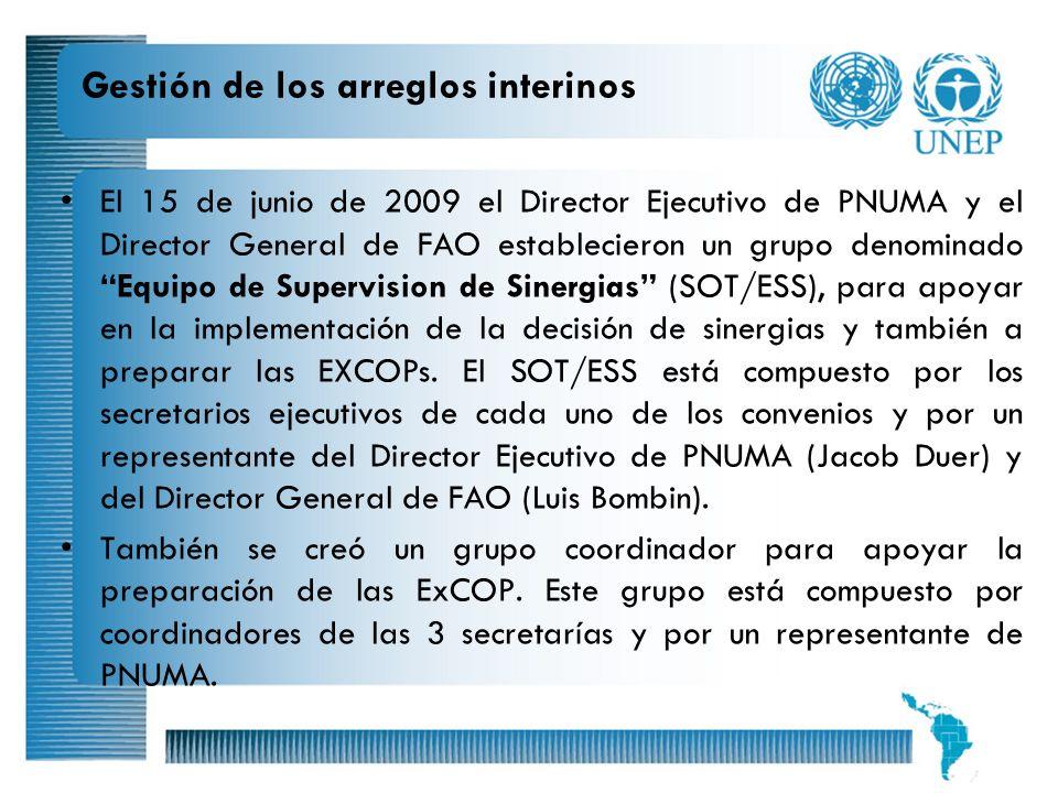 8 Gestión de los arreglos interinos El 15 de junio de 2009 el Director Ejecutivo de PNUMA y el Director General de FAO establecieron un grupo denomina