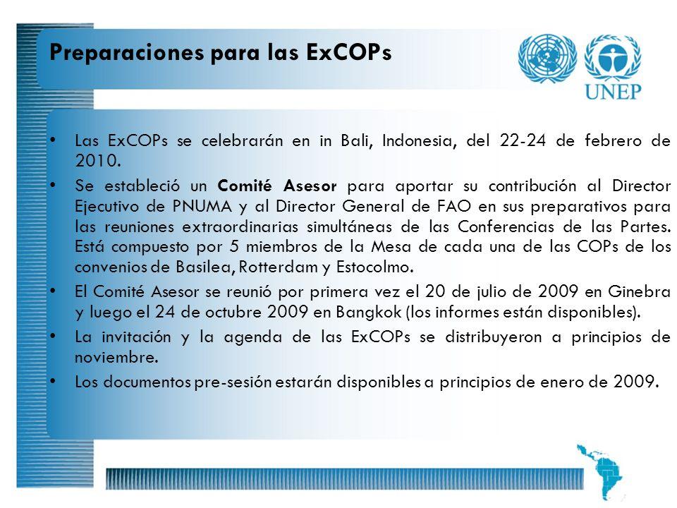 9 Preparaciones para las ExCOPs Las ExCOPs se celebrarán en in Bali, Indonesia, del 22-24 de febrero de 2010. Se estableció un Comité Asesor para apor