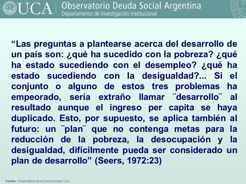 Fuente: Observatorio de la Deuda Social. UCA. Las preguntas a plantearse acerca del desarrollo de un país son: ¿qué ha sucedido con la pobreza? ¿qué h
