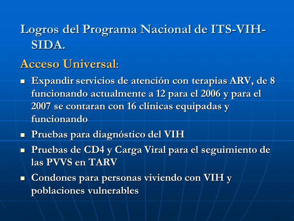 Logros del Programa Nacional de ITS-VIH- SIDA. Acceso Universal : Expandir servicios de atención con terapias ARV, de 8 funcionando actualmente a 12 p