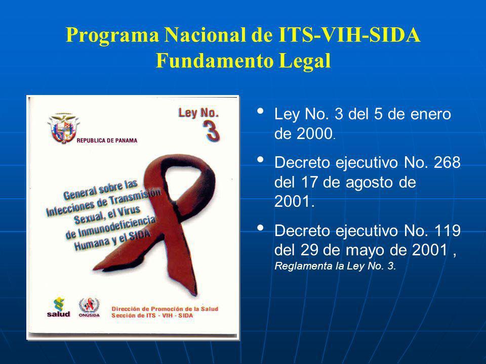 Programa Nacional de ITS-VIH-SIDA Fundamento Legal Ley No. 3 del 5 de enero de 2000. Decreto ejecutivo No. 268 del 17 de agosto de 2001. Decreto ejecu