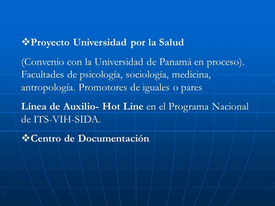 Proyecto Universidad por la Salud (Convenio con la Universidad de Panamá en proceso). Facultades de psicología, sociología, medicina, antropología. Pr