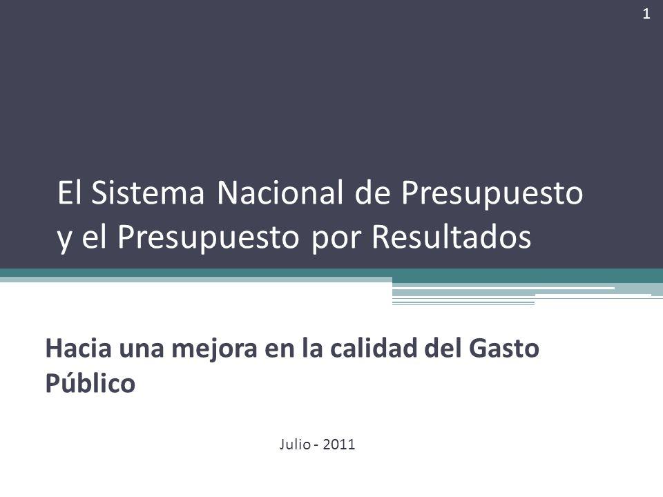 El Sistema Nacional de Presupuesto y el Presupuesto por Resultados Hacia una mejora en la calidad del Gasto Público 1 Julio - 2011