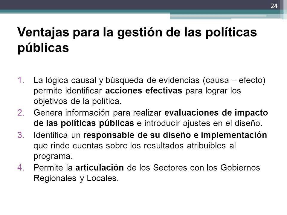 Ventajas para la gestión de las políticas públicas 1.La lógica causal y búsqueda de evidencias (causa – efecto) permite identificar acciones efectivas