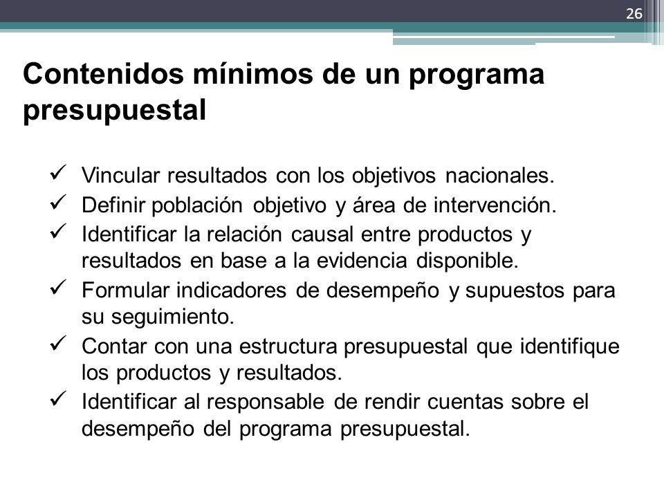 Contenidos mínimos de un programa presupuestal Vincular resultados con los objetivos nacionales. Definir población objetivo y área de intervención. Id
