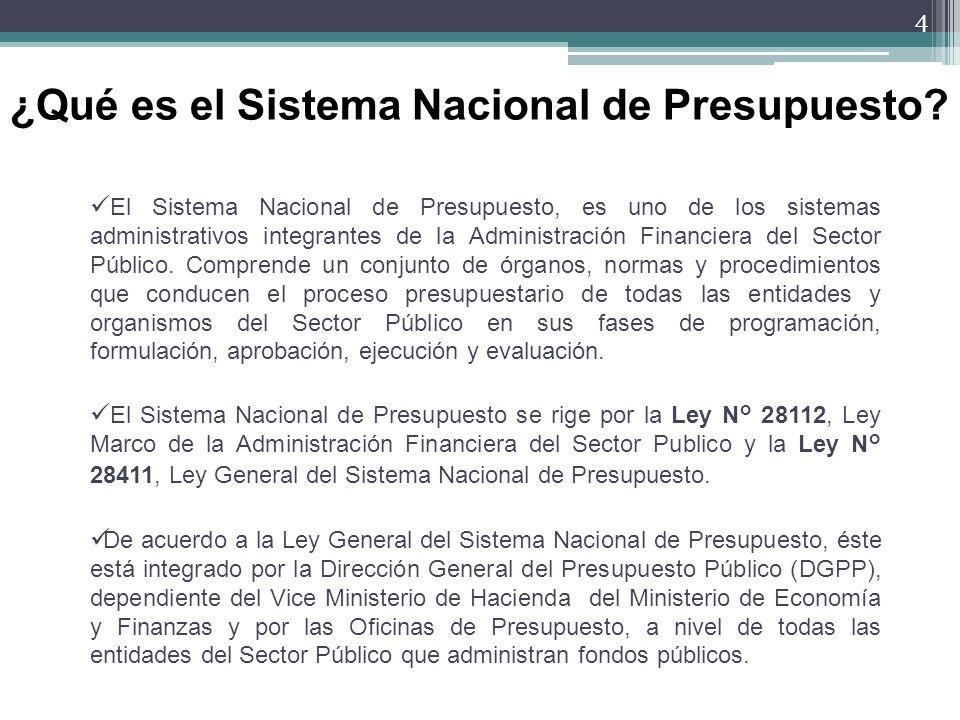 El Sistema Nacional de Presupuesto, es uno de los sistemas administrativos integrantes de la Administración Financiera del Sector Público. Comprende u