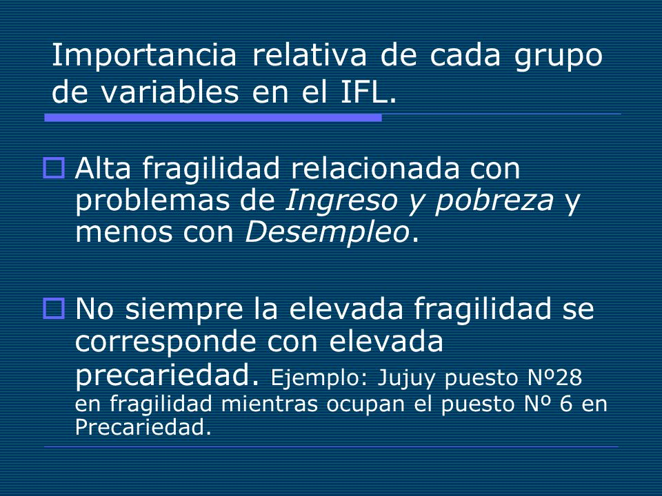Importancia relativa de cada grupo de variables en el IFL. Alta fragilidad relacionada con problemas de Ingreso y pobreza y menos con Desempleo. No si