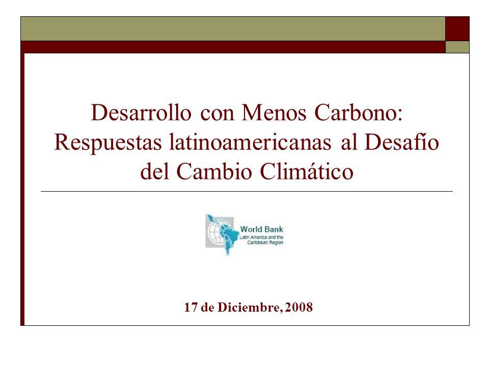 Prioridades de política para Bolivia en el área de cambio climático (para discusión) Áreas en que es en el interés de Bolivia tomar medidas de política independientemente de apoyos externos: Adaptación al cambio climático para minimizar impactos negativos locales Sistemas de información sobre los impactos del cambio climático en Bolivia Administración de riesgos de desastres naturales: prevención y recuperación Administracion sostenible de recursos naturales (hídricos, forestales) Investigacion agrícola dirigida a dar respuesta a nuevas condiciones climáticas Incorporación de riesgos climáticos en políticas de salud (prevención y respuesta) Políticas de mitigación de emisiones de GEI en áreas en que los beneficios sociales netos son positivos (sin considerar su contribucion a minimizar cambio climático) Mayor eficiencia enérgetica a costos netos negativos Politicas de transporte para reducir contaminación y congestionamientos Áreas en que Bolivia puede contribuir a iniciativas globales pero en que mayores apoyos externos serían críticos (ej.
