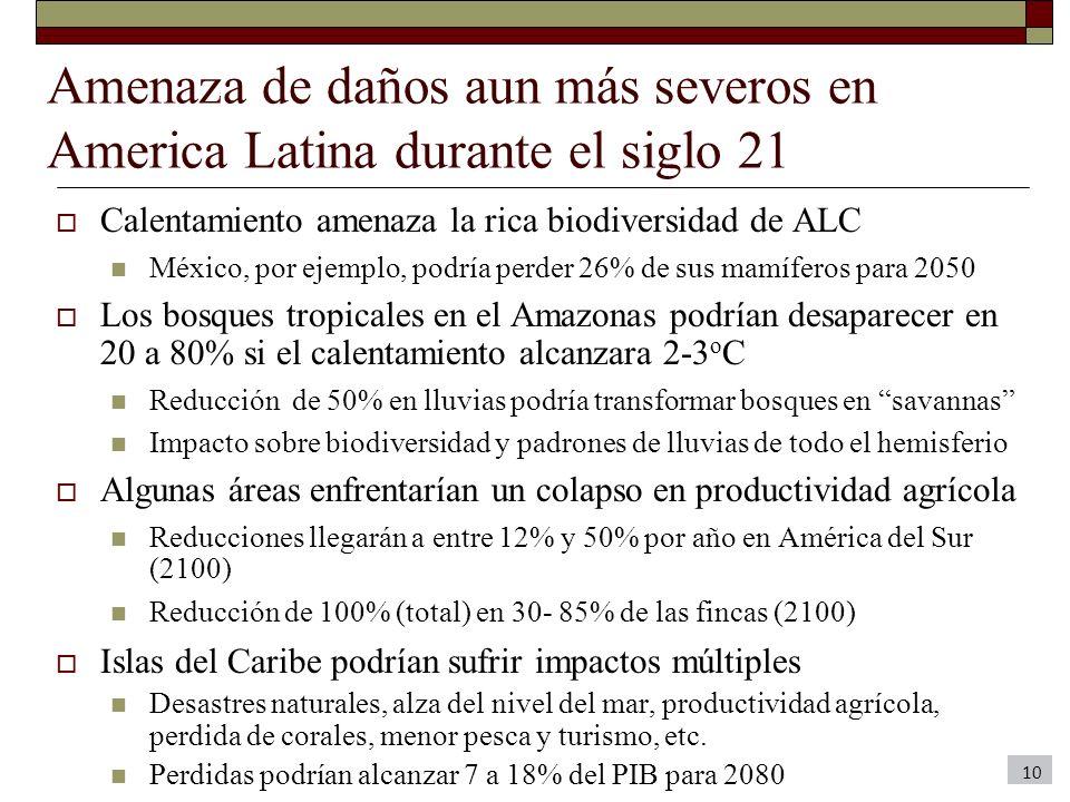 Amenaza de daños aun más severos en America Latina durante el siglo 21 Calentamiento amenaza la rica biodiversidad de ALC México, por ejemplo, podría