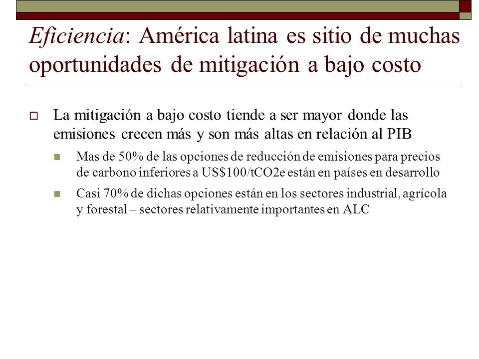 Eficiencia: América latina es sitio de muchas oportunidades de mitigación a bajo costo La mitigación a bajo costo tiende a ser mayor donde las emision