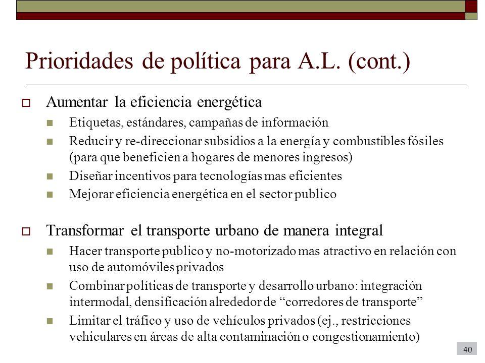 Prioridades de política para A.L. (cont.) Aumentar la eficiencia energética Etiquetas, estándares, campañas de información Reducir y re-direccionar su