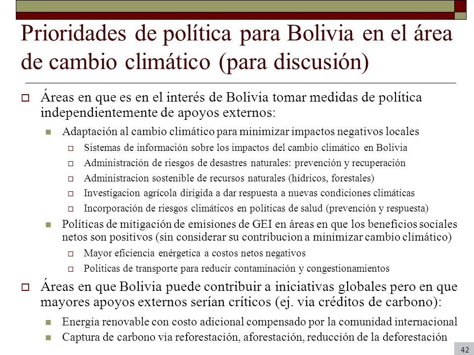 Prioridades de política para Bolivia en el área de cambio climático (para discusión) Áreas en que es en el interés de Bolivia tomar medidas de polític