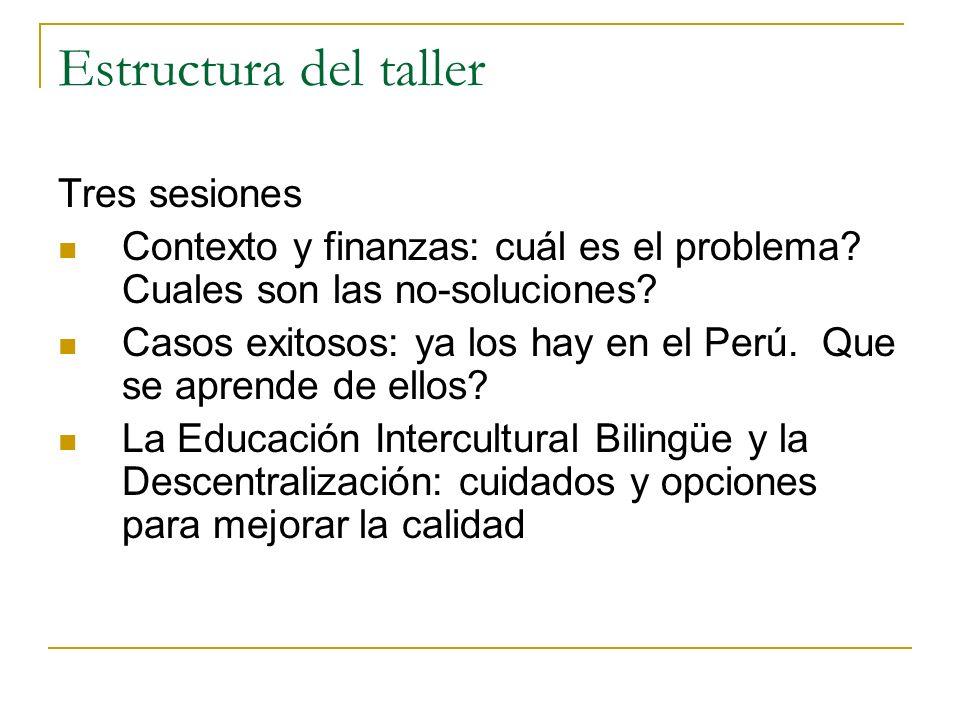 Estructura del taller Tres sesiones Contexto y finanzas: cuál es el problema? Cuales son las no-soluciones? Casos exitosos: ya los hay en el Perú. Que
