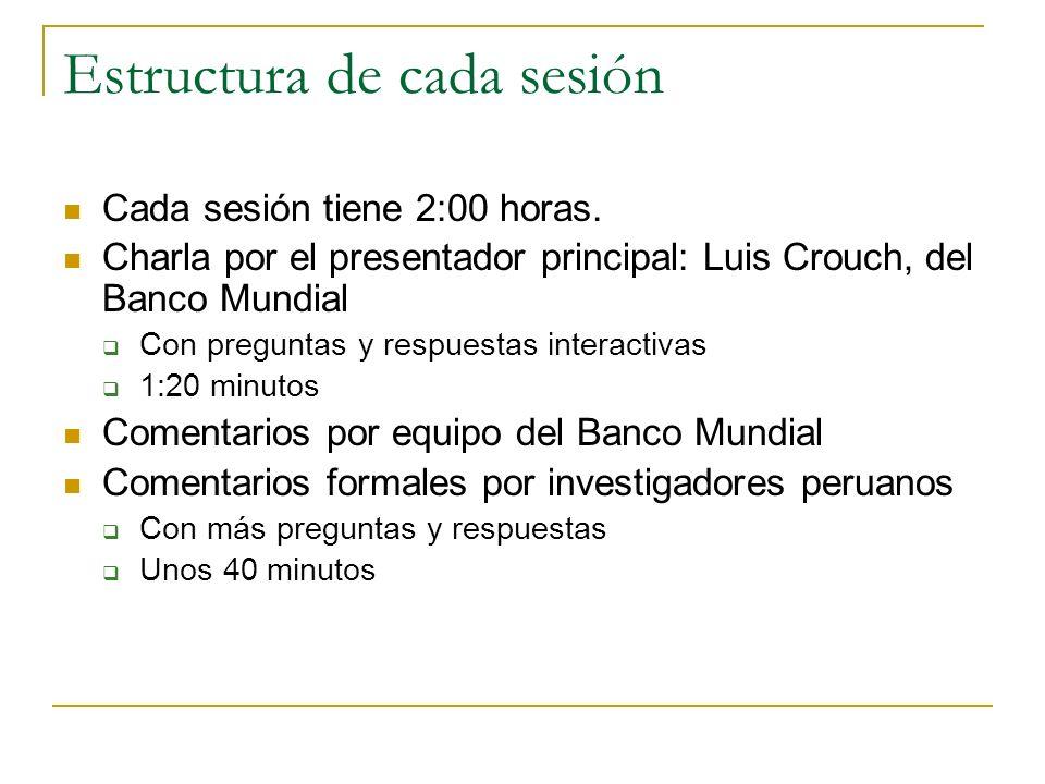 Estructura de cada sesión Cada sesión tiene 2:00 horas. Charla por el presentador principal: Luis Crouch, del Banco Mundial Con preguntas y respuestas