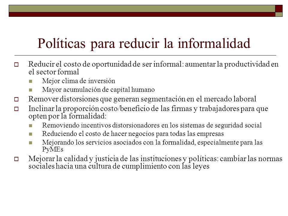 Políticas para reducir la informalidad Reducir el costo de oportunidad de ser informal: aumentar la productividad en el sector formal Mejor clima de i