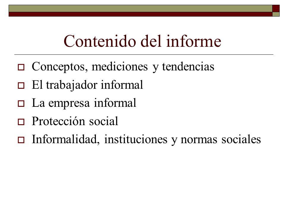Contenido del informe Conceptos, mediciones y tendencias El trabajador informal La empresa informal Protección social Informalidad, instituciones y no