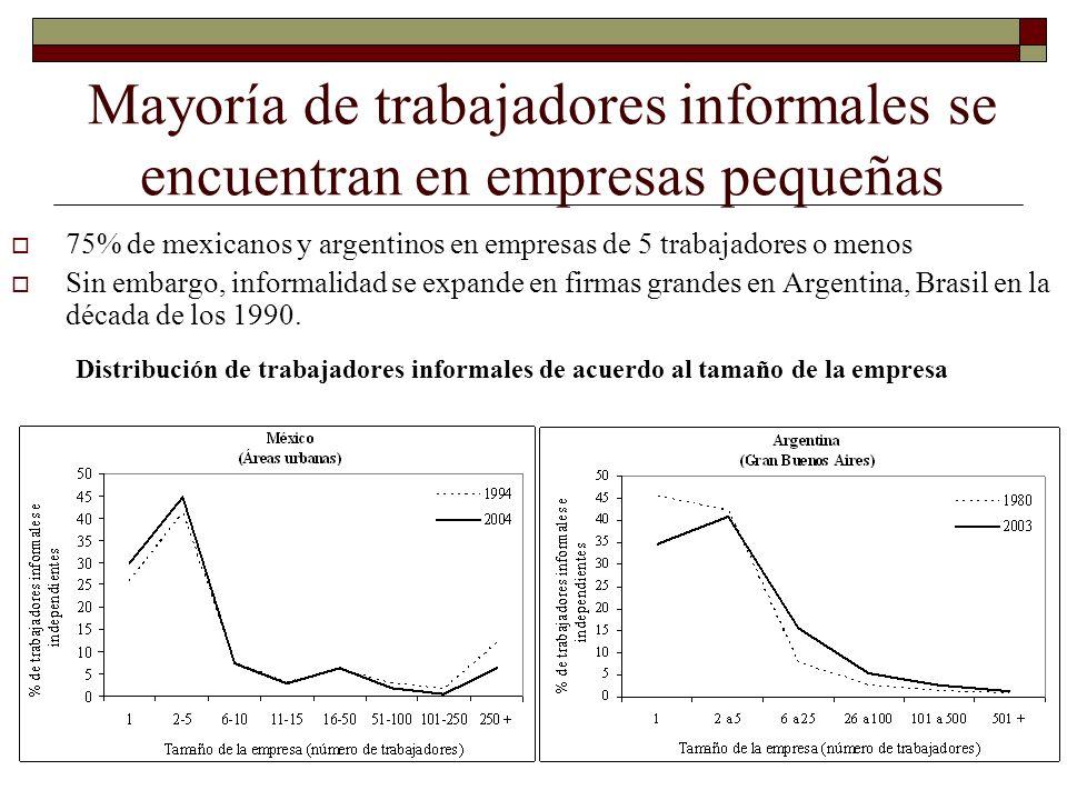 Mayoría de trabajadores informales se encuentran en empresas pequeñas 75% de mexicanos y argentinos en empresas de 5 trabajadores o menos Sin embargo,