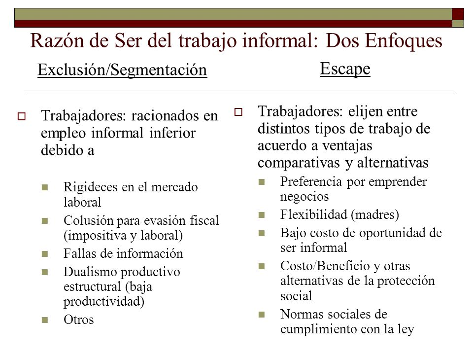 Razón de Ser del trabajo informal: Dos Enfoques Exclusión/Segmentación Trabajadores: racionados en empleo informal inferior debido a Rigideces en el m
