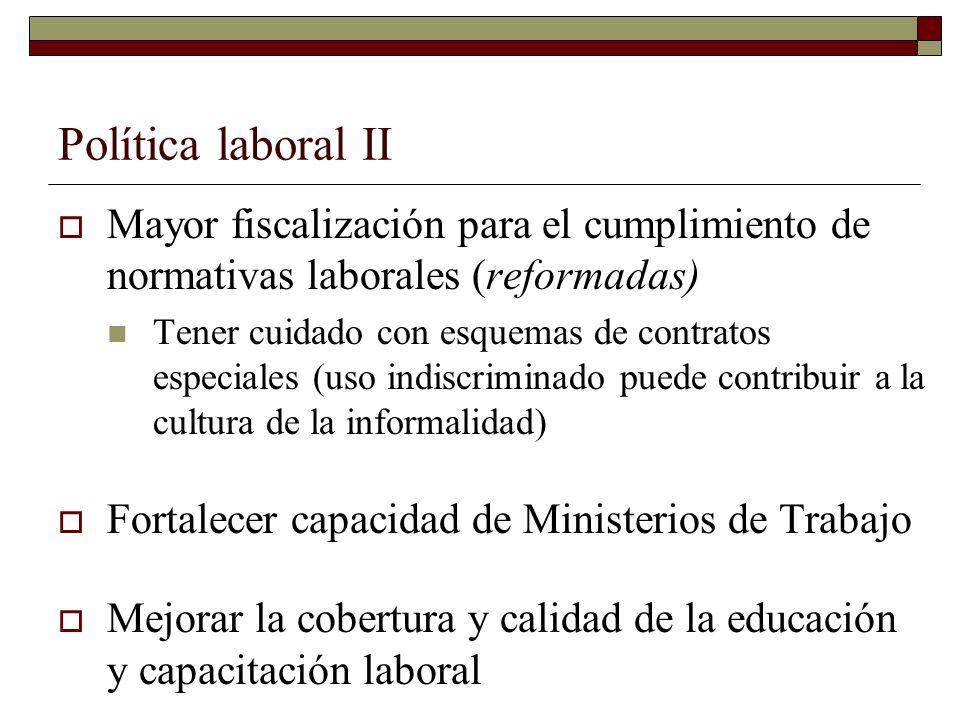 Política laboral II Mayor fiscalización para el cumplimiento de normativas laborales (reformadas) Tener cuidado con esquemas de contratos especiales (