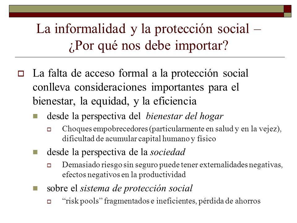La informalidad y la protección social – ¿Por qué nos debe importar? La falta de acceso formal a la protección social conlleva consideraciones importa