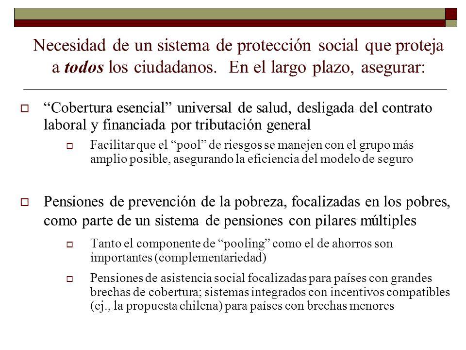 Necesidad de un sistema de protección social que proteja a todos los ciudadanos. En el largo plazo, asegurar: Cobertura esencial universal de salud, d