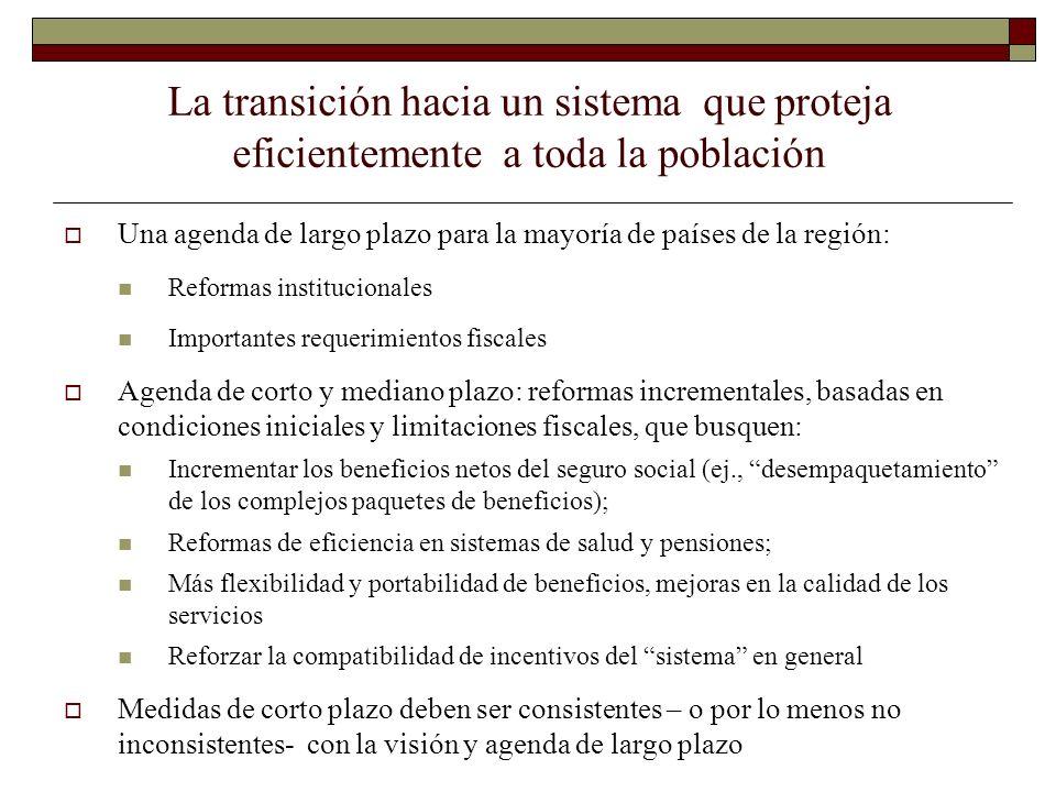 La transición hacia un sistema que proteja eficientemente a toda la población Una agenda de largo plazo para la mayoría de países de la región: Reform