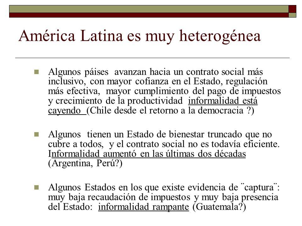 América Latina es muy heterogénea Algunos páises avanzan hacia un contrato social más inclusivo, con mayor cofianza en el Estado, regulación más efect