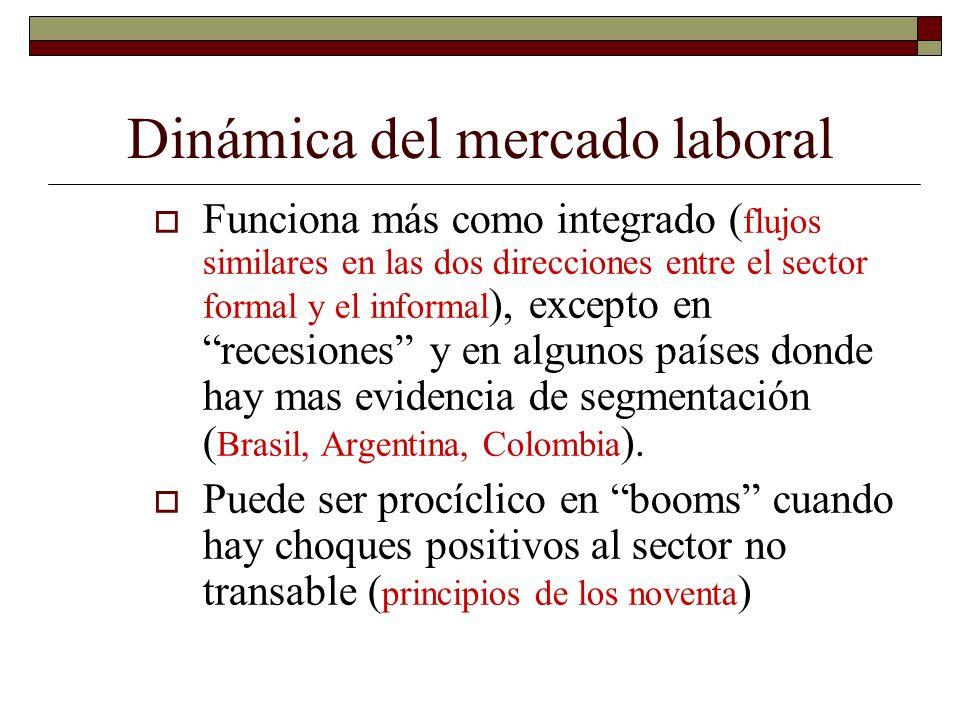 Dinámica del mercado laboral Funciona más como integrado ( flujos similares en las dos direcciones entre el sector formal y el informal ), excepto en