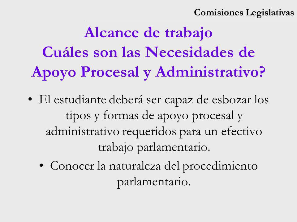 Comisiones Legislativas El estudiante deberá ser capaz de esbozar los tipos y formas de apoyo procesal y administrativo requeridos para un efectivo trabajo parlamentario.