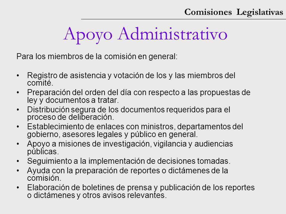Comisiones Legislativas Apoyo Administrativo Para los miembros de la comisión en general: Registro de asistencia y votación de los y las miembros del